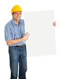 Confident worker presenting empty board. Isolated on white Royalty Free Stock Image