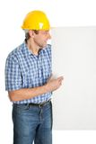 Confident worker presenting empty board. Isolated on white Stock Photos