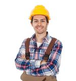 Confident worker wearing hard hat Royalty Free Stock Photo