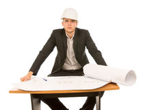Confident young architect with a blueprint Royalty Free Stock Photography