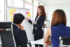 Confident young Asian business woman explaining strategies on flip chart to colleagues in boardroom. Confident young Asian business women explaining strategies royalty free stock photography