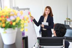Confident young Asian business woman explaining strategies on flip chart to executive in boardroom. Confident young Asian business women explaining strategies on royalty free stock images