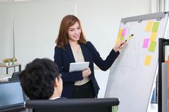 Confident young Asian business woman explaining strategies on flip chart to executive in boardroom. Confident young Asian business women explaining strategies on stock photo