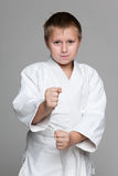 Confident young boy in kimono Royalty Free Stock Photos