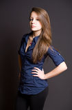 Confident young brunette. Royalty Free Stock Photo