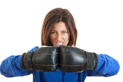 Confident young business or casual woman in boxing concept Stock Images