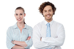 Confident young business couple Stock Photos