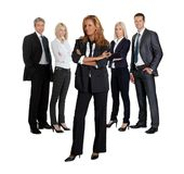 Confident young business executive with her team Royalty Free Stock Image
