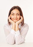 Confident Young Business Woman. Close up face portrait of beautiful business woman Royalty Free Stock Photos