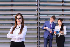 Confident young business woman, student rests, took break from w Stock Image