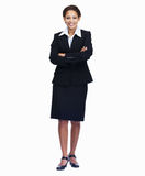 Confident young business woman on white Royalty Free Stock Images