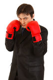 Confident young businessman with boxing gloves Stock Photos