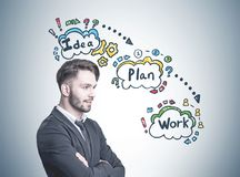 Confident young businessman, business plan Stock Image
