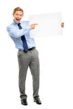 Confident young businessman holding banner isolated  on white ba Stock Image