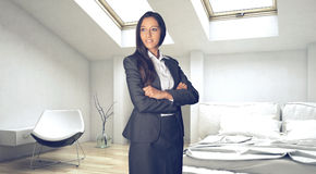 Confident Young Businesswoman at the Bedroom Stock Photography