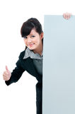 Confident Young Businesswoman Holding Billboard Stock Photography