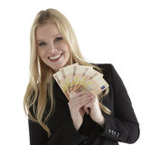 Business Woman smiling with Euro currency Stock Photo