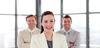 Confident young businesswoman in office Royalty Free Stock Photos