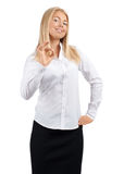 Confident young businesswoman showing OK sign Stock Image