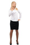 Confident young businesswoman showing OK sign Stock Photography