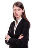 Confident young businesswoman / student arms crossed in Studio Stock Photos
