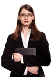 Confident young businesswoman / student arms crossed in Studio Stock Images