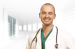 Confident young doctor modern background Royalty Free Stock Photography