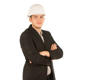 Confident Young Engineer in Black Coat Royalty Free Stock Images