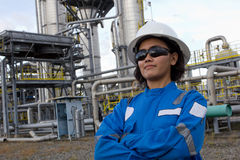 Confident young female engineer. royalty free stock photography