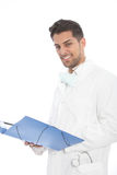 Confident young male doctor with a file Stock Image