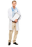 Confident young male doctor holding clipboard on white backgroun Royalty Free Stock Photo