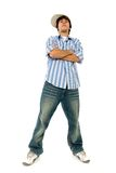 Confident young man. Casual cool young guy gesturing Royalty Free Stock Photo