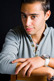 Confident young man with elegant hand watch Stock Photography