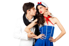 Confident young man flirting with sailor woman Stock Image