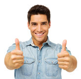 Confident Young Man Gesturing Thumbs Up Royalty Free Stock Photography