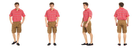 Confident young man portrait wearing shorts isolated Stock Image