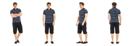 Confident young man portrait wearing shorts isolated Royalty Free Stock Images