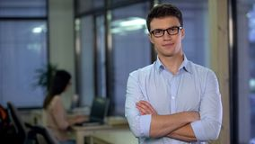 Confident young man posing on camera, applicant for vacancy, freelance job. Stock photo stock images