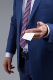 Confident young manager is introducing himself Royalty Free Stock Photo