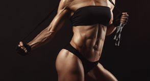 Confident young muscular fitness female Royalty Free Stock Photos