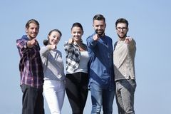 Confident young people showing hands forward Royalty Free Stock Photos