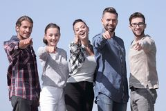 Confident young people showing hands forward stock images
