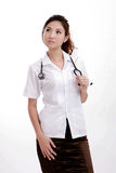 Confident young physician lady wearing Stethoscope Stock Photos