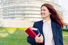 Confident young smiling student stock photo
