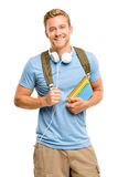 Confident young student back to school on white background Royalty Free Stock Photos