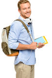 Confident young student back to school  on white background Royalty Free Stock Photo