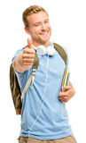 Confident young student thumbs up sign on white background Royalty Free Stock Photos