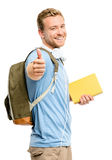 Confident young student thumbs up sign on white background Stock Images