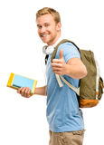 Confident young student thumbs up sign on white background Royalty Free Stock Photo