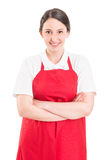 Confident and young supermarket employee Stock Photo